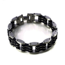 Top Quality Mens Motor Bike Chain Motorcycle Bracelet Bangle Stainless Steel Jewelry with Silicone