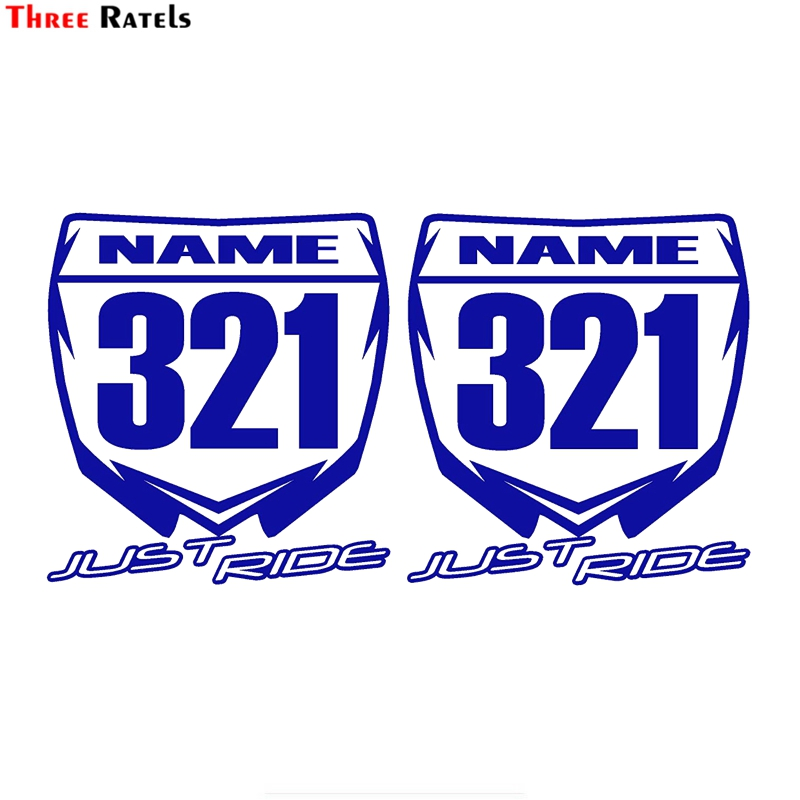 Three Ratels FTZ-158# 20x10.6cm 2PCS Custom Made With Your Name JUST RIDE Motocross Number Plate Replica Decal Stickers