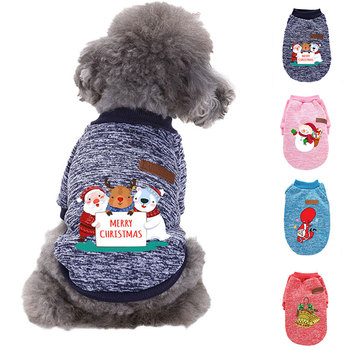 Christmas Warm Dog Clothes Autumn Winter Pet Clothing For Small Medium Dogs Vest Shirts New Year Puppy Dog Cat Costume Outfits image