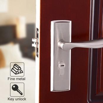 85mm central distance door handle lock with 70mm key lock 1 Set Door Lock Panel Kit Aluminium Alloy Interior Security Door Lock With Ergonomic Handle Durable Bedroom Toilet Door Lock