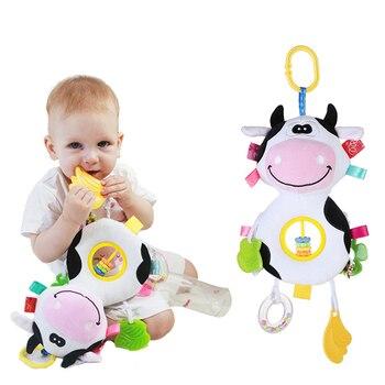 Bonitos juguetes de sonajero para bebé, juguetes de cama con dibujos animados de conejo para recién nacidos, juguete educativo de 0 a 24 meses, campanas de mano para perros y vacas