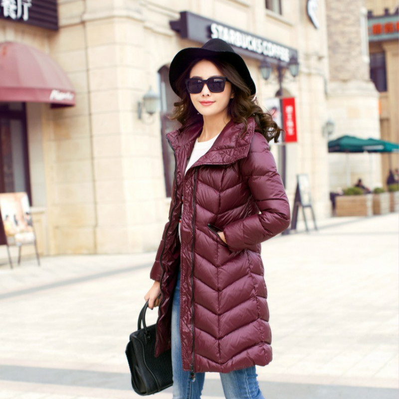White Womens Duck Down Jacket Fashion Winter Coat Hooded Women Long Parkas Warm Ladies Coats Casacos A01330 YY1185 S