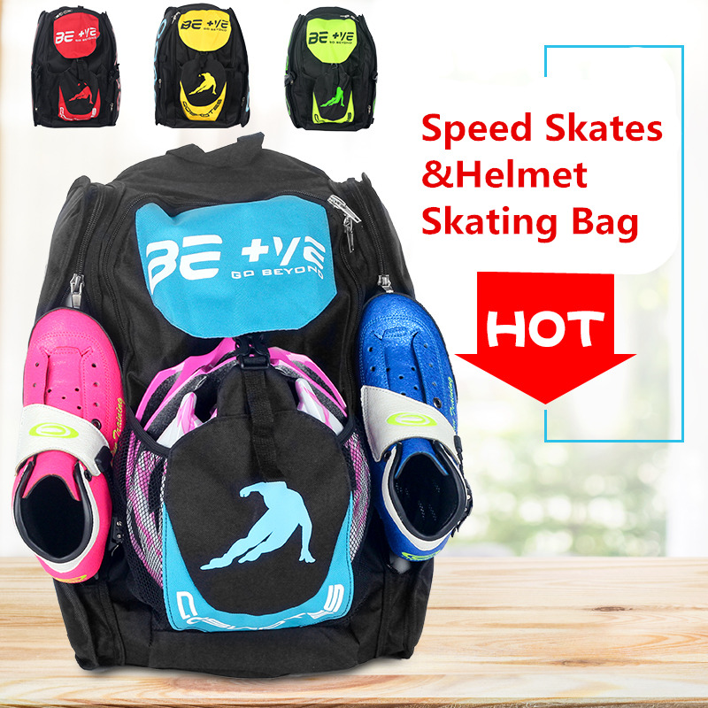 Original BE+VE Go Beyond Inline Speed Skates Shoes Container Speed Patines Outdoor Helmet Skating Bag Backpack Support 4X110mm