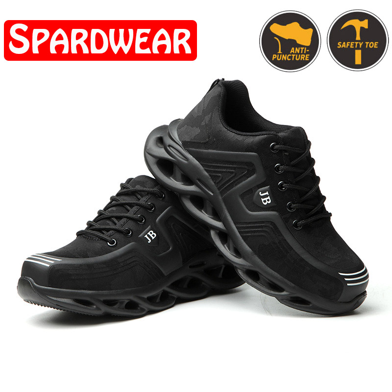 Men Safety Shoes with Metal Toe Indestructible Shoe Work Boots with Steel Toe Waterproof Breathable Sneakers Work Shoes image