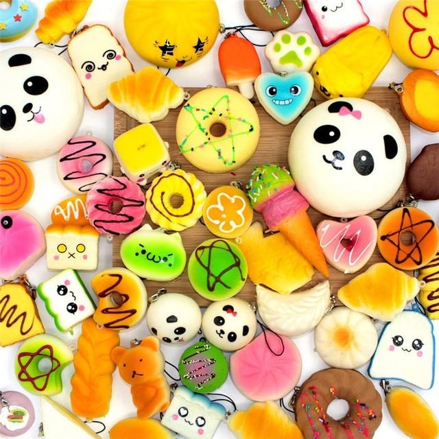 10/20/30 adet yumuşacık yavaş yükselen sevimli ekmek antistres oyuncak kolye Donut Squishies oyuncak sıkmak oyuncaklar cep telefon aksesuarları