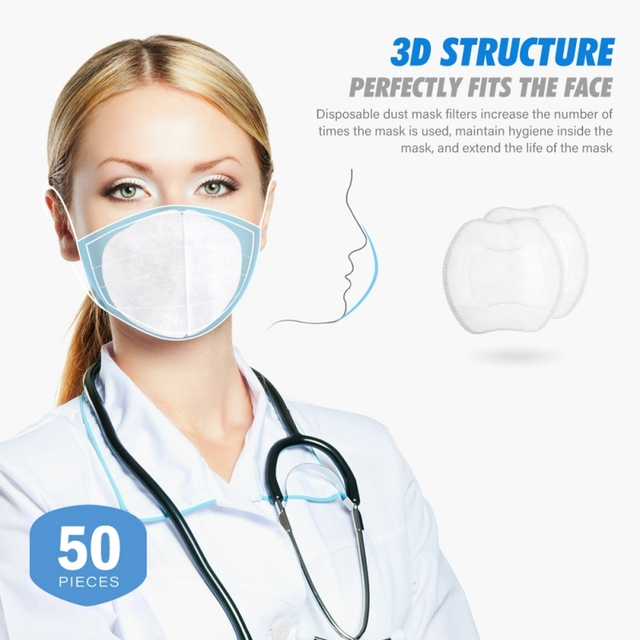 50PCS Anti-fog Mask Gasket Disposable Dust Mask Filter Anti-flu Formaldehyde Odor Protection Mask Protection Pads Protect 1
