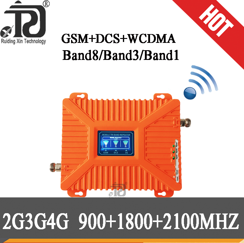 2g 3g 4g Gsm Signal Repeater 900/1800/2100 Tri-Band Booster Gsm 900 Dcs 1800 Wcdma 2100 Mobile Signal Booster Cellular Amplifier