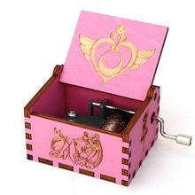 Деревянная резная розовая музыкальная шкатулка Сейлор Мун игра на трон музыкальная шкатулка ручной коленчатый тема Caixa De Musica подарок на день рождения