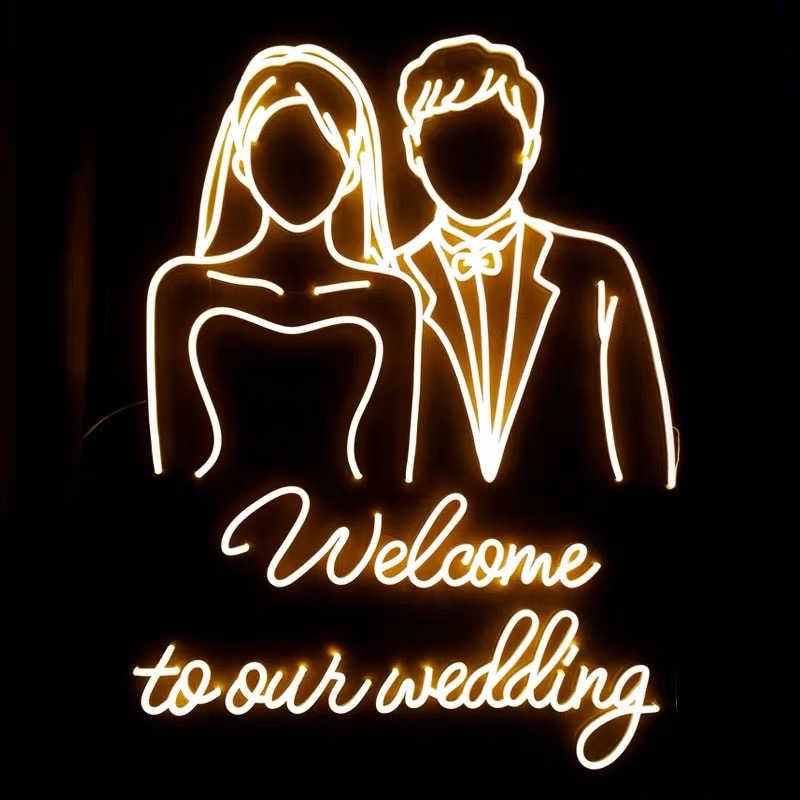 Custom Made NEON SIGN untuk Selamat Datang Di Pernikahan Kami Hanya LED Lampu Dinding Pesta Pernikahan Toko Restoran Ulang Tahun Dekorasi