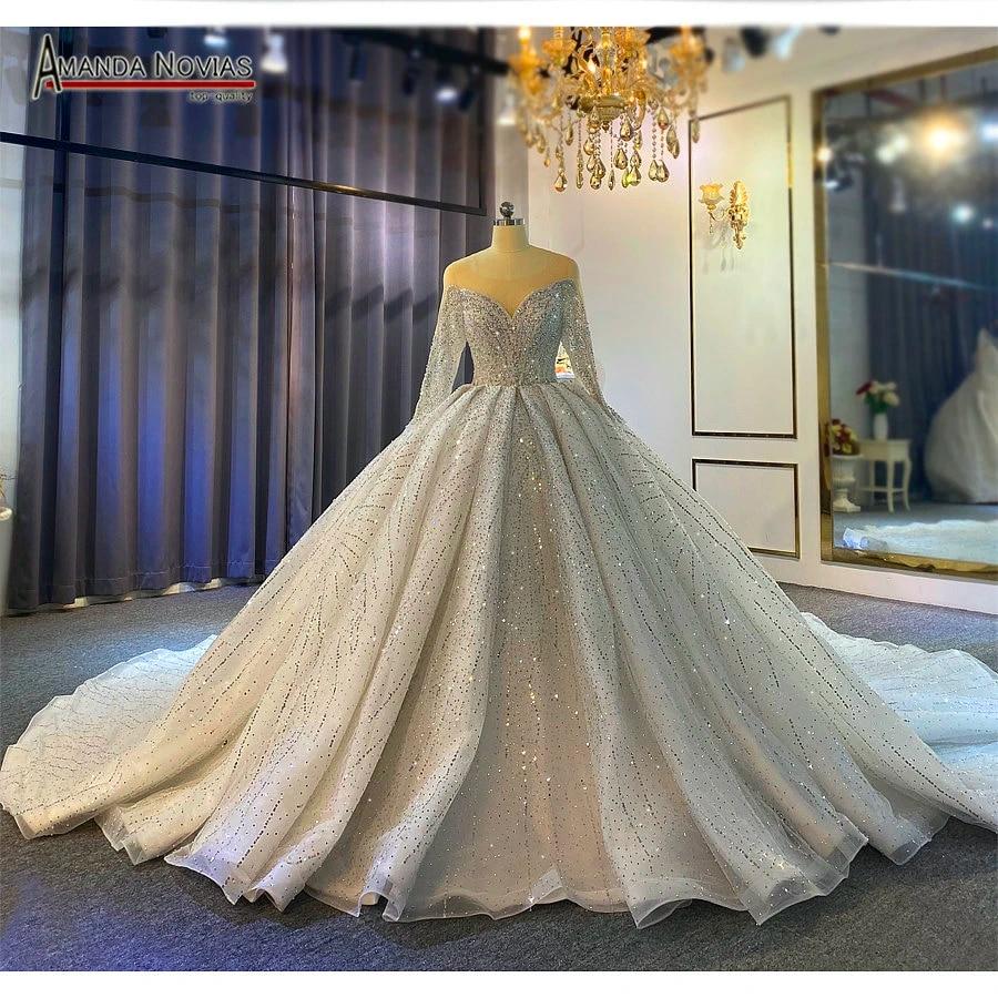 Dubai style full beading wedding dress puffy ball gown lebanese weddings  20
