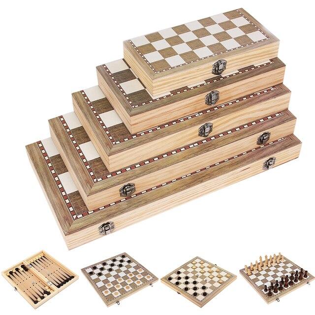 Jouet 3 en 1 pliable pour apprentissage, jouet Portable pour débutants, jeux de Backgammon, voyages, échiquier en bois, divertissement pour adultes et enfants 3