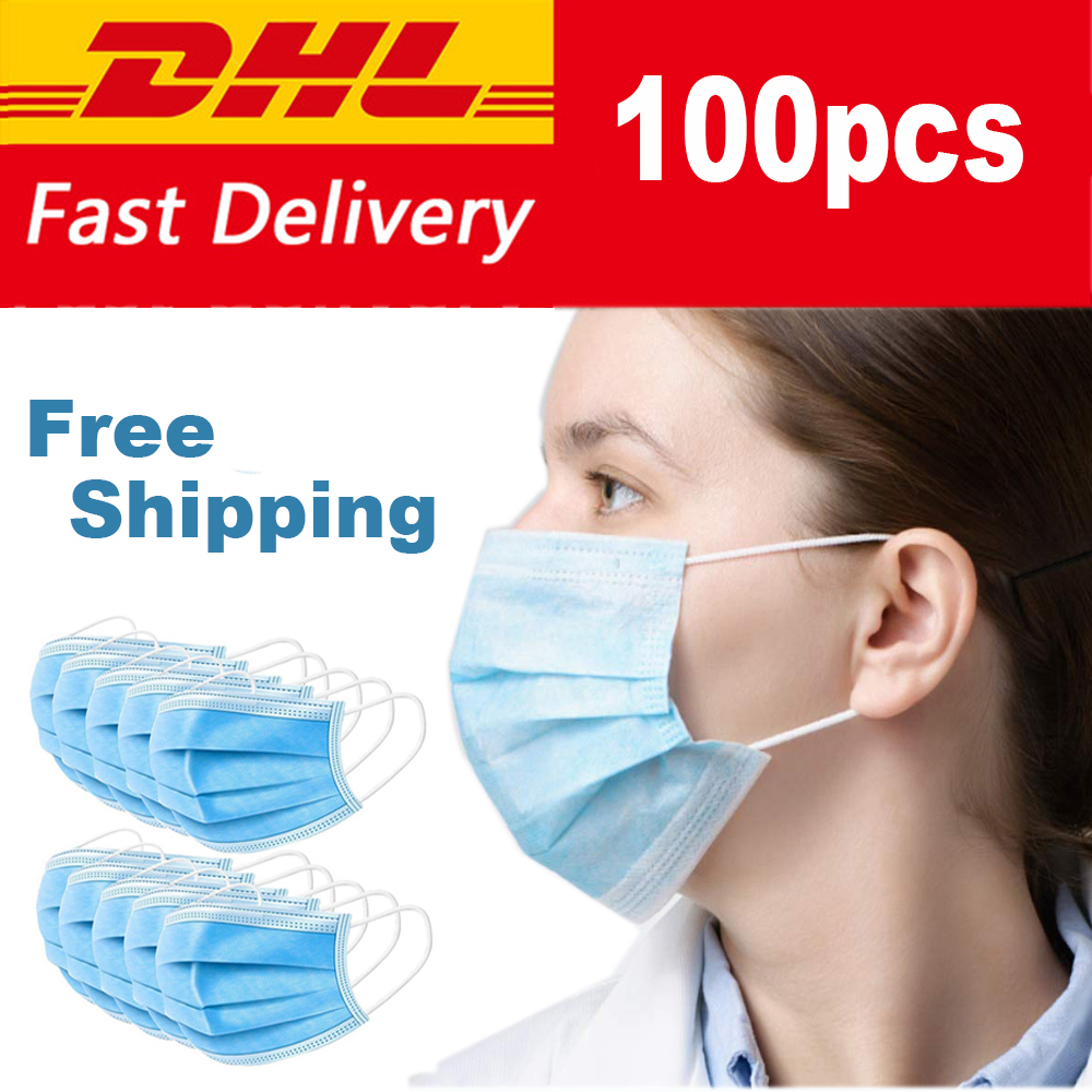 100pcs Disposable 3 Ply Anti Dust Disposable Surgical Medical Earloop Face Mouth Masks DHL Shipping|  - title=