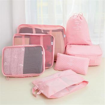 7pcs Travel Home Clothes Quilt Blanket Storage Bag Set Shoes Partition Tidy Organizer Wardrobe Suitcase Pouch Packing Cube Bags