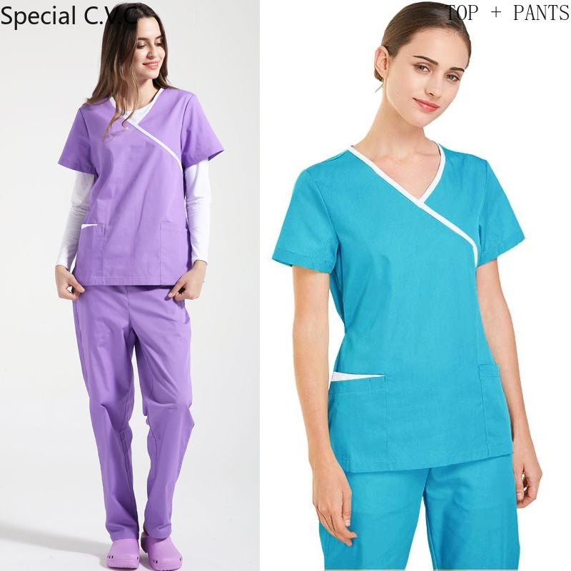 Women Scrubs Set Mock Wrap V-Neck Short Sleeves Shirt With Two Large Pockets SPA Beauty Health Workwear Fashion Medical Uniform