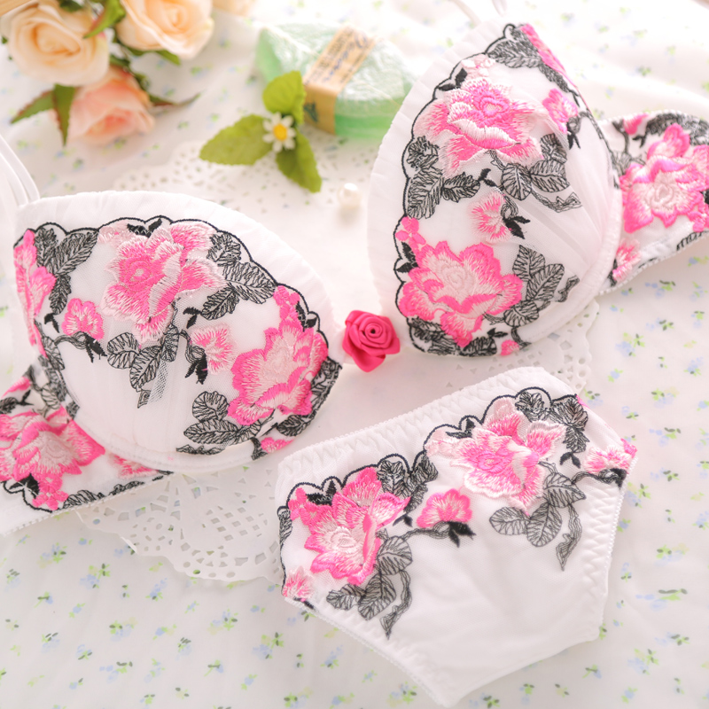 European sexy deep V ladies underwear set delicate embroidery flower bra 271 272