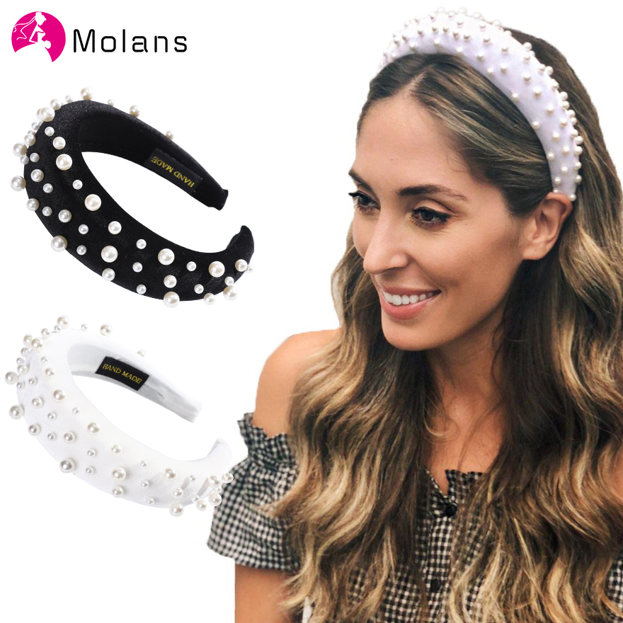Molans Solid Color Soft Velvet Wide Hairband With Pearl Padded Headband Crown Pearl Hairband Wedding Headpiece Hair Accessories