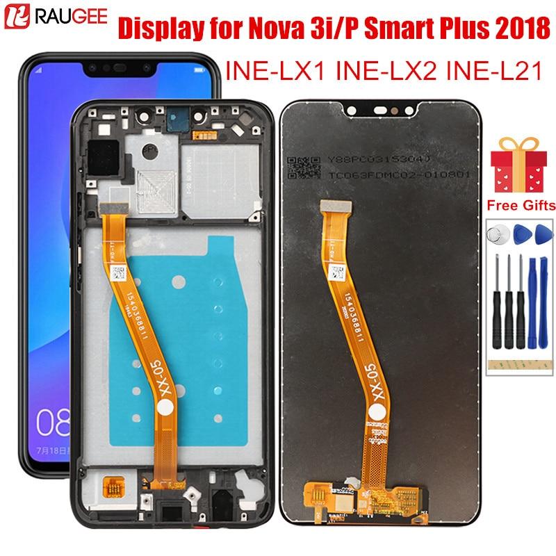 ЖК-дисплей для Huawei P Smart Plus 2018, ЖК-дисплей с рамкой, сенсорный экран для замены для Huawei Nova 3i INE-LX1,LX2,L21 P Smart + LCD