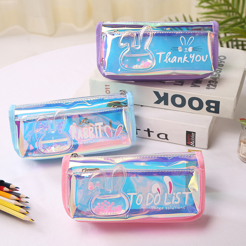 Iridescent Laser Pencil Case Quality PU School Supplies <font><b>Bts</b></font> Stationery Gift Pencilcase School Cute Pencil Box <font><b>Bts</b></font> School Tools image