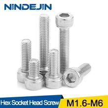 Шестигранный винт NINDEJIN с шестигранной головкой M1.6 M2 M2.5 M3 M4 M5 M6 болт из нержавеющей стали DIN912 шестигранный винт с ключом