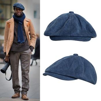 New Casquette cotton canvas blue men's newsboy hat gentleman berets lady retro England cowboy hat literary octagonal cap BLM43