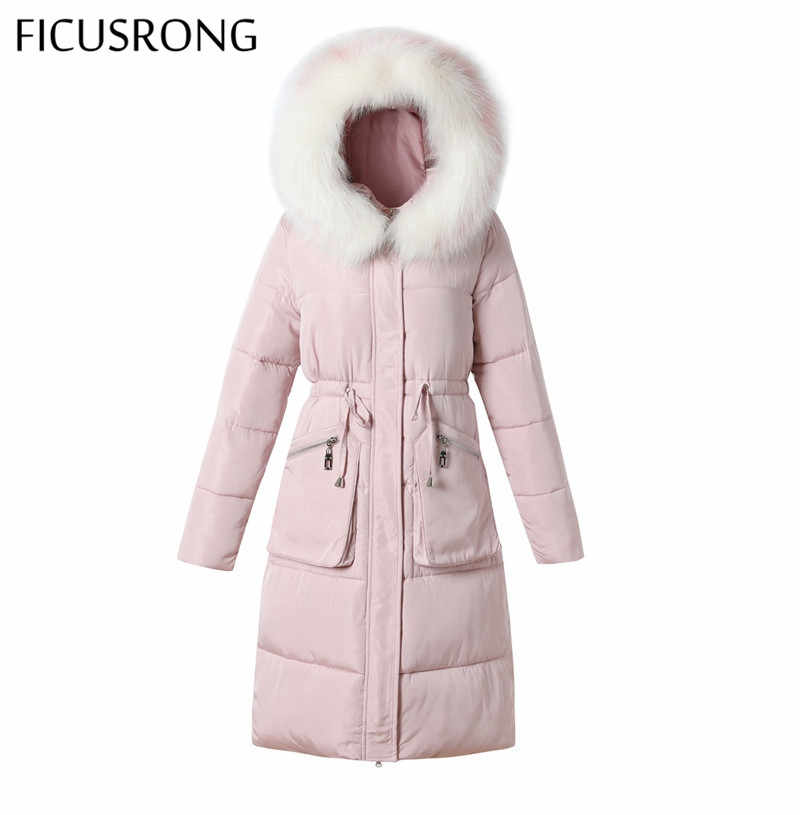 FICUSRONG Fashion Drawstring Slim Pink Womens Winter Jackets Coats Warm Thicken Fur Collar Long Solid Hooded Down Parkas