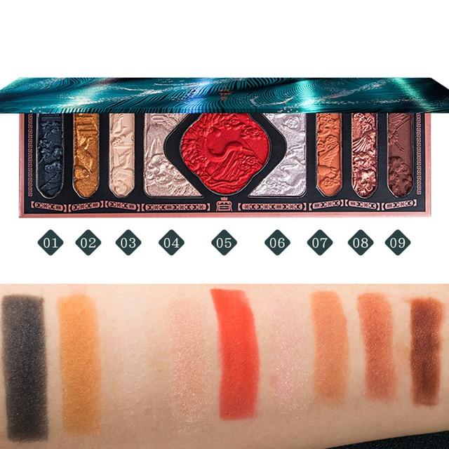 New Chinese Ancient Phoenix Embossed Eyeshadow Palette Palace Luxury Eye shadow Sequins Waterproof Eye Cosmetics Makeup Palettes 4