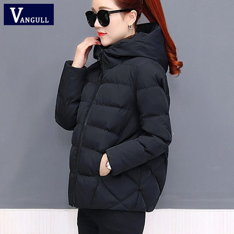 Vangull Winter Women Coat Parkas Solid Hooded Jacket 2019 Casual New Zipper Plus Size Loose Thick Outerwear Long Sleeve coat Multan