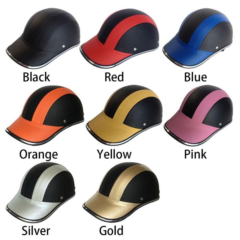 1Pc PU Leder Motorrad Open Halbe gesicht Helme Fahrrad Roller Helm Baseball Kappe Schutzhelme
