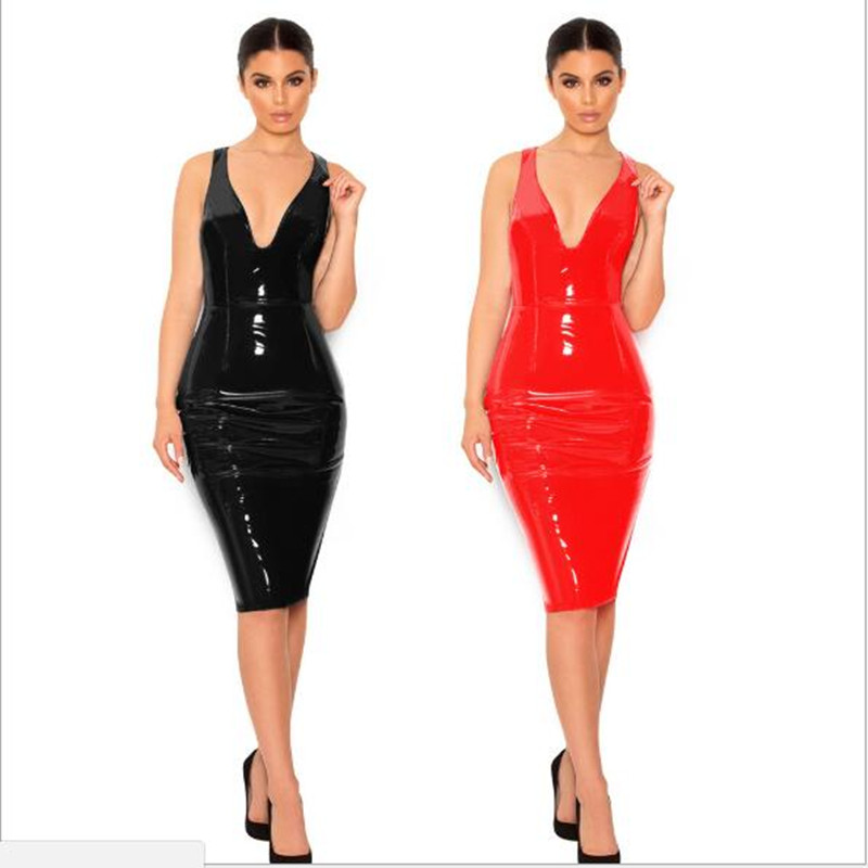 <font><b>4XL</b></font> 5XL 6XL Plus Size Dress 2019 <font><b>Sexy</b></font> Winter PVC Wet Look <font><b>Leather</b></font> Dresses Women Red Black Knee Length Zipper Black Club Dress image