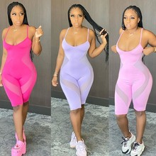 Sisterlinda 2020 Mesh Patchwork Playsuit Bodycon Sexy Streetwear Party Rompers Summer Clothes Fitness Jumpsuits Mujer Body Suits(China)