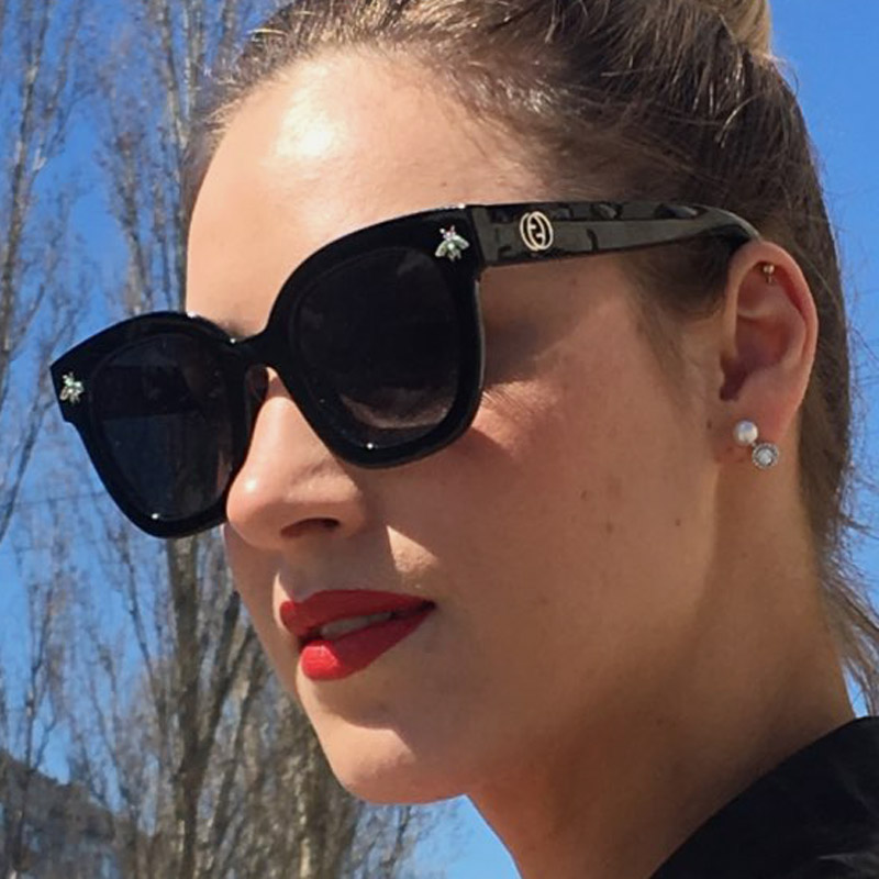 2020 New Black Square Sunglasses Women Luxury Brand Designer Bee Sun Glasses Lady Vintage Gradient Eyewear Summer Shades UV400