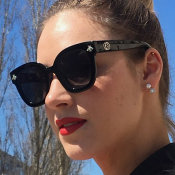 2020 nowy czarny kwadrat okulary kobiety luksusowy gatunku projektanta pszczoła pani rocznika gradientu letnie odcienie UV400 tanie i dobre opinie YASWEi WOMEN SQUARE Dla dorosłych Z tworzywa sztucznego 46mm Poliwęglan bee sunglasses 50mm black white grey pink green black blue silver