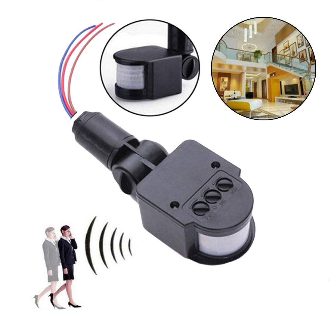 Infrared Body Sensor LED Motion Sensor Outdoor Wall Mount Sensor Automatic Infrared PIR Movement Detector Light-Switch