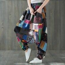Свободные брюки шаровары из хлопка и льна с принтом