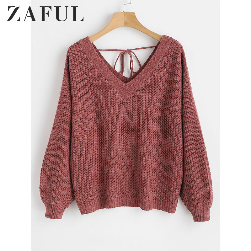 ZAFUL High Quality Thick Warm Women Sweater Fashion Knitted Soft Sweater Jumper Autumn V-Neck Drop Shoulder Top Female Pullovers