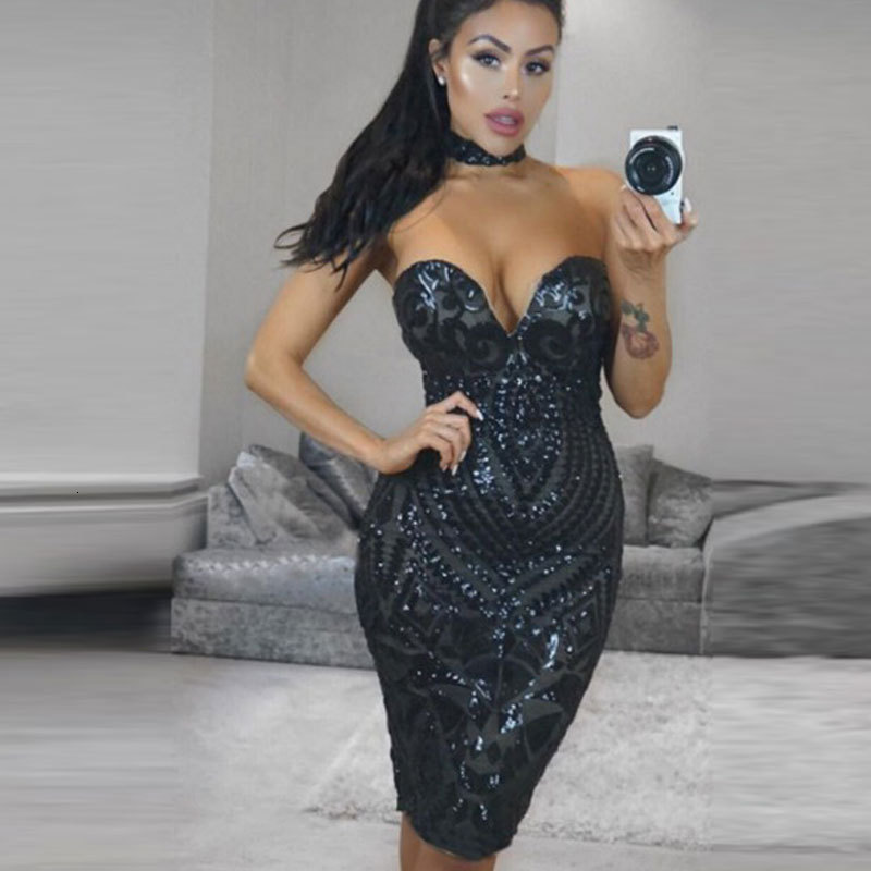 BacklakeGirls Sexy Sweetheart Neck Strapless Dress With Necklace Sleeveless Mini Cocktail Dresses Black For Cocktail Party Dress