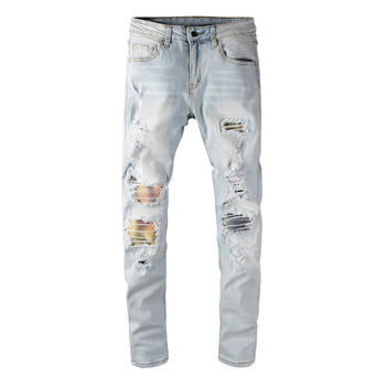 Men's Light Blue Colored Patchwork Pleated Ripped Biker Jeans Streetwear Slim Skinnt Stretch Denim Tapered Pants