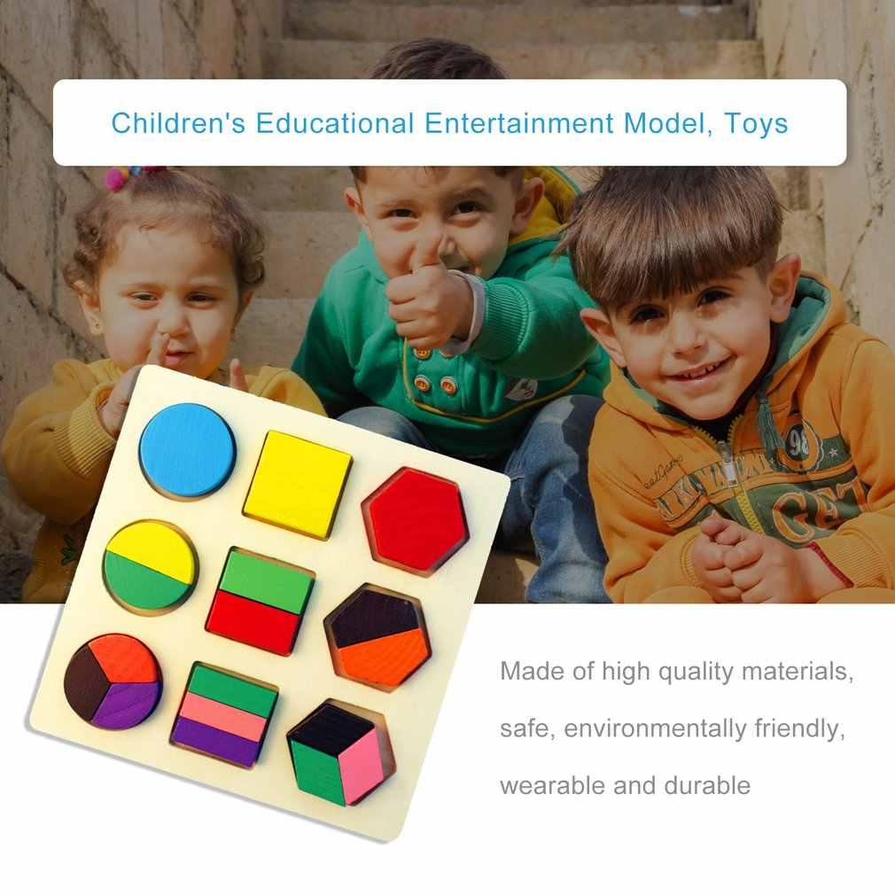 ألعاب مونتيسوري الطفولة المبكرة خشبية بازل قطع شكل هندسي مجلس المعرفية مطابقة مجلس لعبة هدية للأطفال طفل
