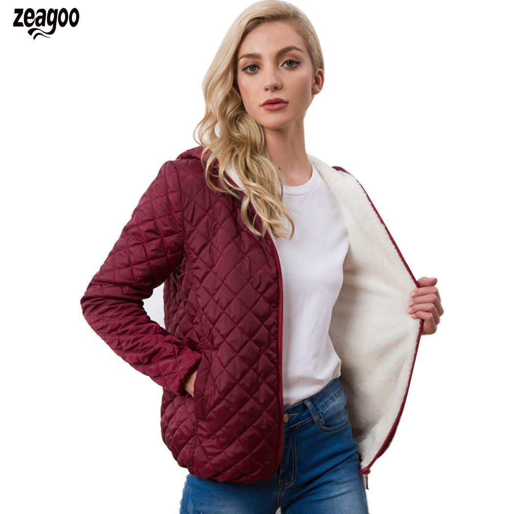 Women Solid Hooded Coat Casual Long Sleeve Black, Wine Red Outwear With Autumn, Winter Side Pockets