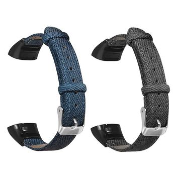 Denim Pattern Genuine Leather Watchband Wrist Strap Replacement for Huawei Honor Band 5/4 Bracelet Accessories - discount item  22% OFF Watches Accessories