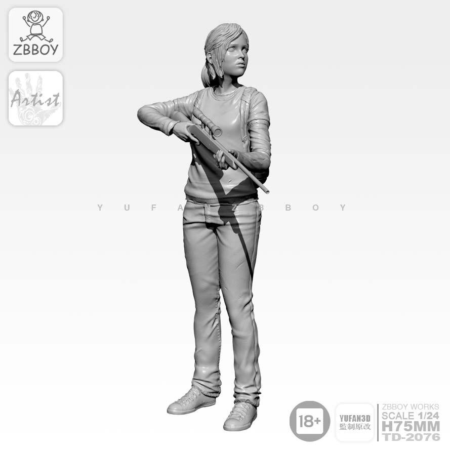 1/24 Resin Kits  Girl Resin Soldier Self-assembled TD-2076