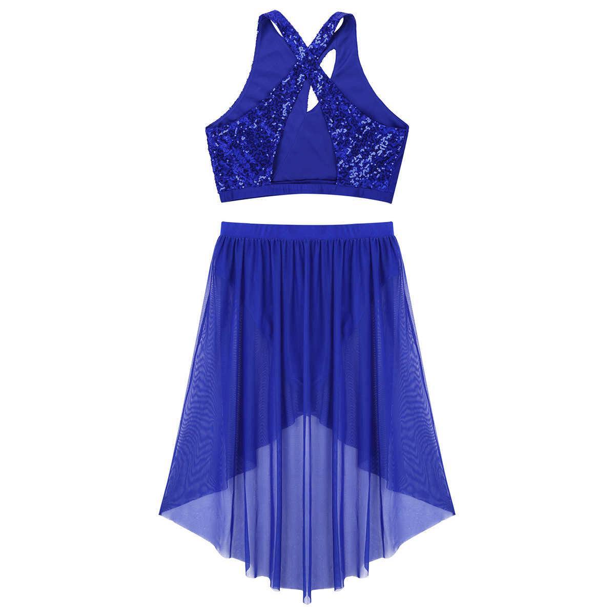 נשים ריקודי בטן לטינית שמלת מודרני לירי בגדי בלט חדר כושר בגד גוף תלבושות תלבושת מבריק נצנצים טנק יבול למעלה & רשת חצאית