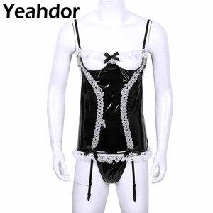 Image 1 - Sissy Men Wetlook Lencería de charol para Cosplay, traje de criada, ligas con volantes de encaje, corsé calado en el pecho, G string