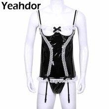 Sissy men wetlook lingerie de couro de patente festa cosplay traje da empregada doméstica ligas plissado rendas oco para fora peito espartilho g string