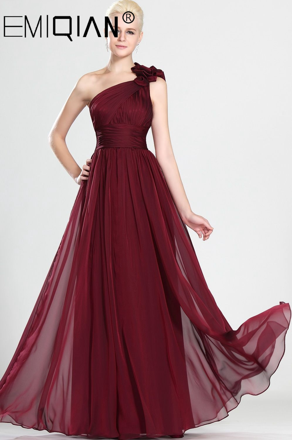 Elegant A Line Burgundy Chiffon Evening Gowns With Hand Made Flowers, Simple One Shoulder Pleated Bodice Prom Dresses