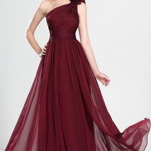 Elegant A Line Burgundy Chiffon Evening Gowns with Hand Made Flowers, Simple One Shoulder Pleated Bo