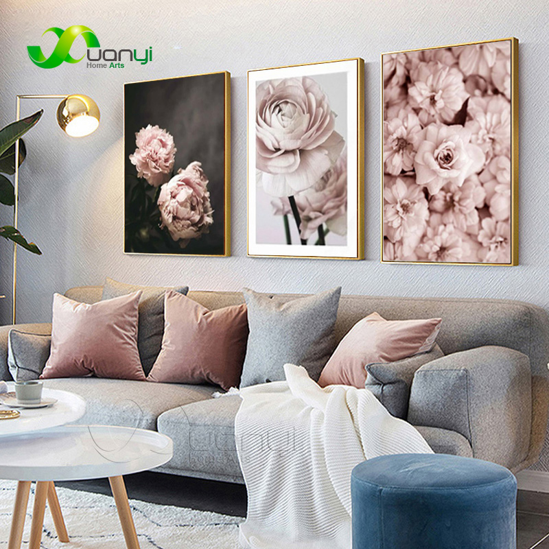 US $2.0 60% OFF|Nordic Modern Romantic Pink Peonies Flowers Canvas  Paintings Gallery Posters And Prints Wall Art Pictures Bedroom Home Decor  on ...