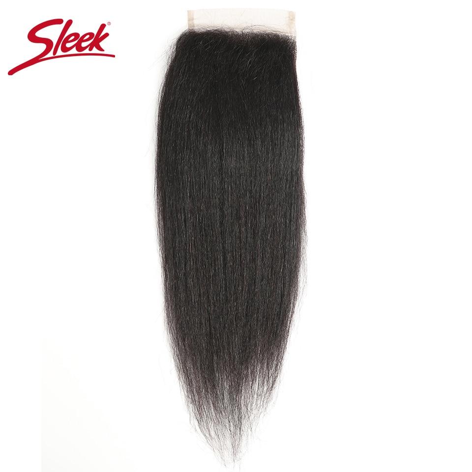 Sleek бразильские Яки прямые волосы Кружева Закрытие 10 20 дюймов Волосы remy 4x4 средней длины коричневого цвета с отбеленные Кружева чехол Бесплатная доставка