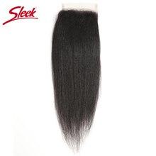 บราซิล Yaki ตรงลูกไม้ปิด 10 20 นิ้ว Remy Hair 4x4 กลางสีน้ำตาล Bleached Knots ปิดลูกไม้ฟรีจัดส่ง