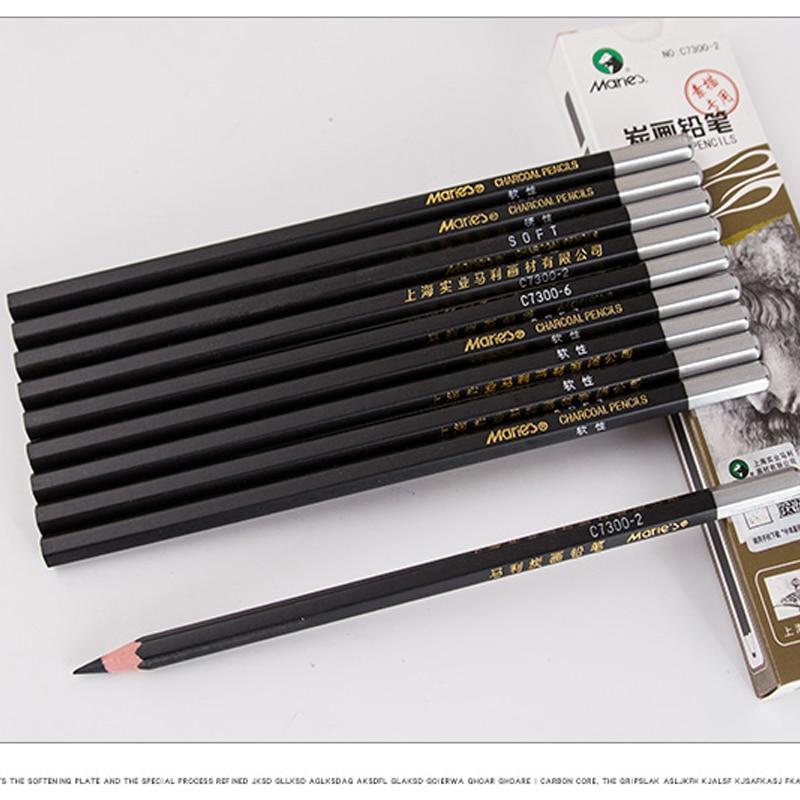 2pcs Marie/'s 14B Carbon Black Pencil Drawing Sketch Charcoal Matte Artist Paint